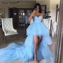 Fashion Sweet Blue High Low Tulle Women Tiered Ruffles Ladies Cocktail Dresses