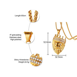 FXM TBB41 ожерелье из нержавеющей стали хит продаж золотой цвет популярный одиночный женский 52 мм Золотой голова льва подарок женские ювелирны...