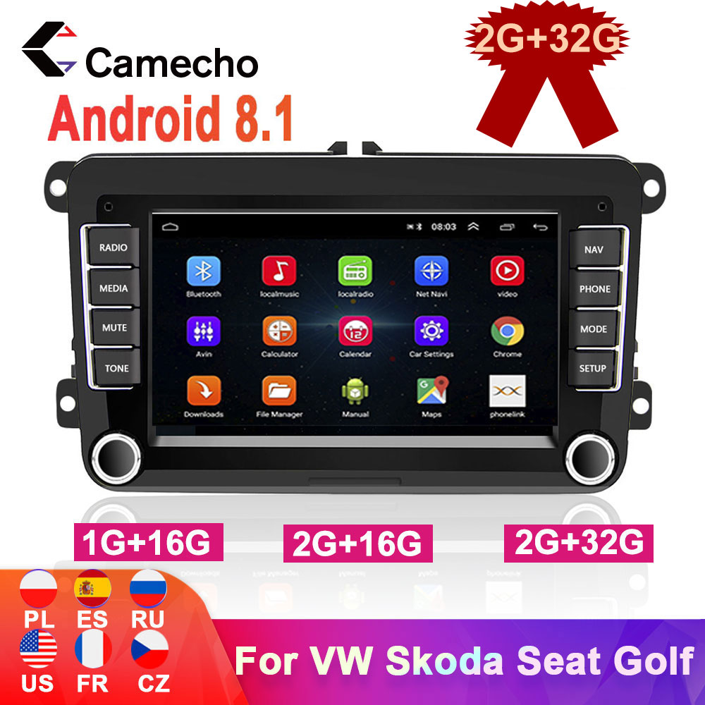 Camecho 2Din Car Radio Android 8.1 Car Multimedia player GPS Stereo For VW/Volkswagen/Golf/Octavia/golf 5/touran/passat b6/polo|Car Multimedia Player|   - AliExpress