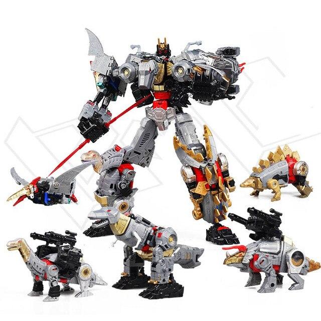 BMB dönüşüm Dinoking Volcanicus Grimlock cüruf çamur Snarl Swoop slash Dinobots 5IN1 alaşımlı aksiyon figürü Robot oyuncaklar
