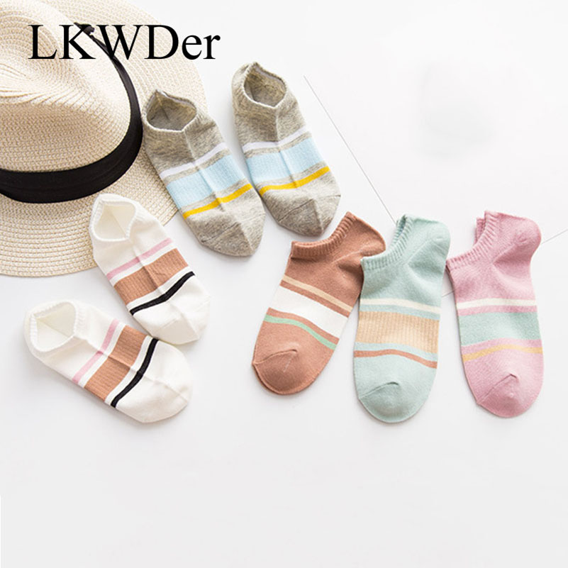 LKWDer 5 Pairs Womens Socks Spring And Summer New Cotton Ladies Ankle Socks Striped Wild Female Short Socks Sox Meias Calcetines