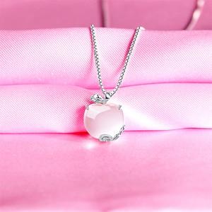 Image 4 - Ruifan Apple Form Natürliche Rose Quarz Weiß/Rose Gold 925 Sterling Silber Frau Anhänger Link Kette Halsketten Schmuck YNC092