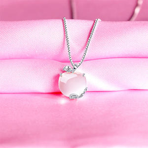 Image 4 - Ruifan Apple Shape Natural Rose Quartz White/Rose Gold 925 Sterling Silver Woman Pendants Link Chain Necklaces Jewelry YNC092