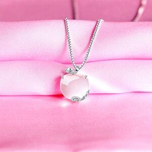 Image 4 - Ruifan forma de maçã natural rosa quartzo branco/rosa ouro 925 prata esterlina mulher pingentes link corrente colares jóias ync092