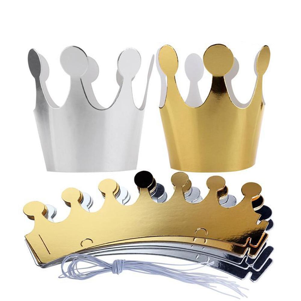 10Pcs Kids Adult Happy Birthday Paper Hats Cap Prince Princess Crown Party Decoration for boy girl 5Pcs Silver+5pcs gold
