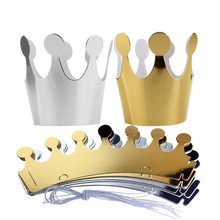 10Pcs Kids Adult Happy Birthday Paper Hats Cap Prince Princess Crown Party Decoration for boy girl 5Pcs Silver+5pcs gold