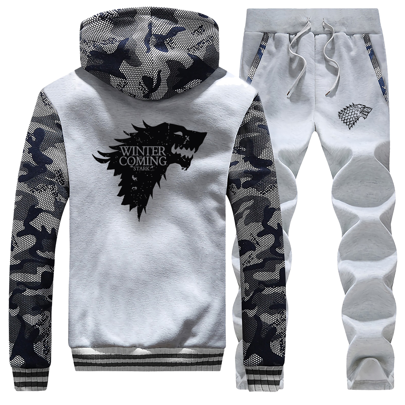 2019 Men Game Of Thrones Jackets Fashion Winter Is Coming Pants Hoodies Casual House Stark Wolf Camo Gym Suit Night King Men Set