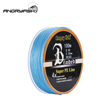 Angryfish Wear resistant 100m 4 Strands Braided Fishing Line 11 Colors Super PE Strong Strength Fish
