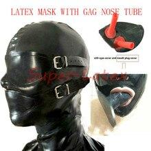 Латексный каучук корпус капюшон с резиновой крышкой с тени для век и кляп носовые трубки маска bdsm садо взрослые игры ограничения рот кляп