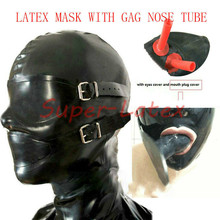 Latex Rubber Enclosure Hood Rubber Hood with Eyeshade and Gag NOSE TUBE bdsm mask bdsm bondage adult games restraints mouth gag