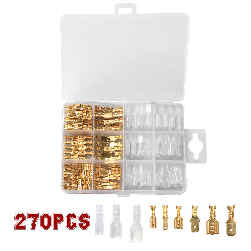 120/180/270 Uds. Conector de cable hembra macho aislado cable eléctrico terminales de engarce 2,8/4,8/6,3mm Spade Connectors Kit