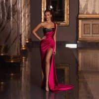 Vestido De fiesta 2020, vestido rojo De noche con un hombro al descubierto, vestido largo Sexy con abertura lateral, vestido De fiesta para desfile