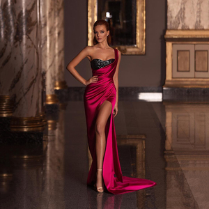 Robe De Soiree 2020 One Shoulder Red Evening Dresses Sexy Side Split Side Split Long Prom Gowns Party Pageant Dress