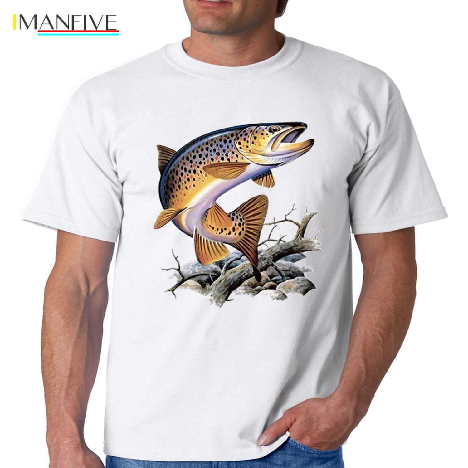 Brown Trout Fishing T Shirt Cool Casual pride t shirt men Unisex New Fashion tshirt free shipping tops ajax 2019 funny t shirts in T Shirts from Men 39 s Clothing
