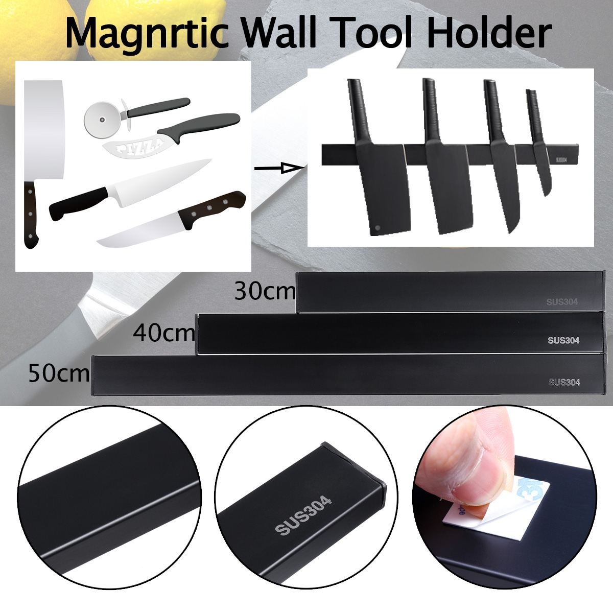 Stainless Steel Magnetic Knife Tool Holder 30/40/50mm Length For Kitchen Bar Knives Tableware Storage Tools Space Saving Holder
