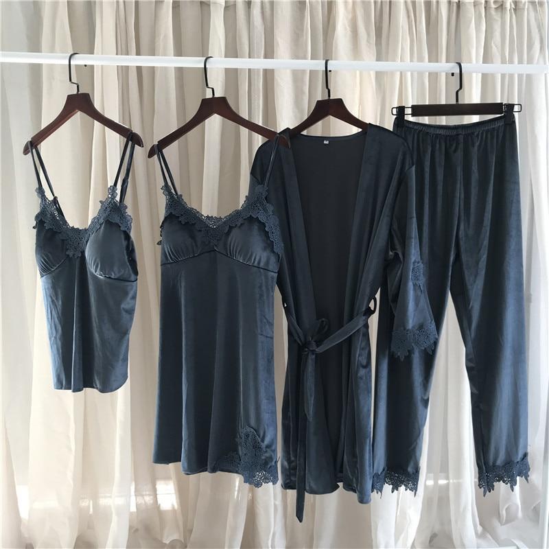Summer Female New Korean Golden Velvet Pajama Woman'S Autumn/Winter Gown Set Soft Comfortable Lounge Negligee Pajamas