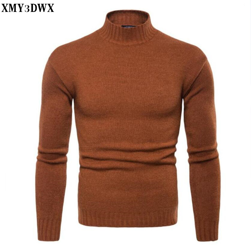 Winter High Neck  Warm Sweater Men Turtleneck  Mens Sweaters Slim Fit Pullover Men Knitwear Male  New Solid Color Sweater
