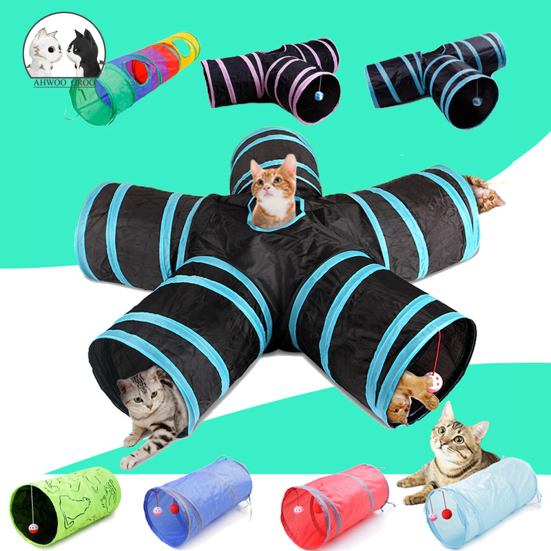 Voice Interactive Foldable Pet Cat Tunnel Indoor Outdoor Pet Cat Training Fun Toy for Cat Animal Play Tunnel Tube 2/3/4/5 Holes image