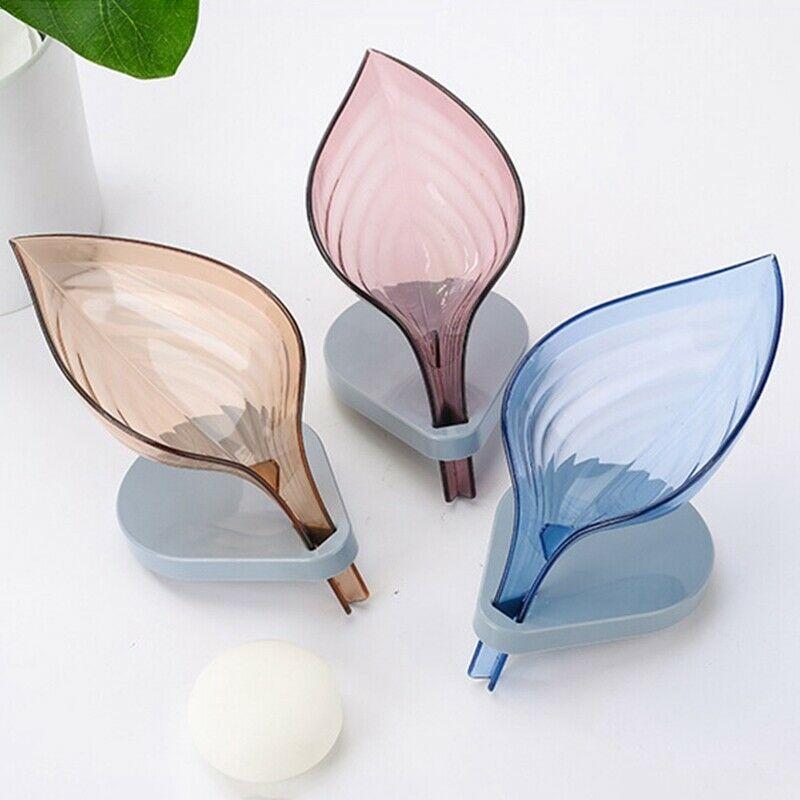 2020 New Leaf Shape Decorative Drainage Soap Holder Solid Color Transparent Soap Storage Holder Container Clean Soap Bathroom