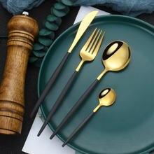 Кухня посуда Нержавеющаясталь столовые приборы черного и золотого
