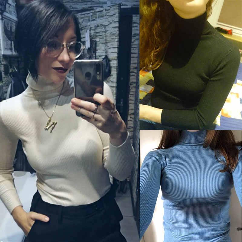 판매 2020 가을 겨울 여성 니트 터틀넥 스웨터 캐주얼 소프트 솔리드 점퍼 패션 슬림 Femme 탄성 풀오버