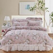 100% funda nórdica de algodón Set con cubrecama acolchado almohada shams 4/6 Uds jardín vintage flor juego de cama Coverlet suave transpirable