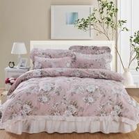 100%Cotton Duvet Cover Set with Quilted Bedspread Pillow shams 4/6Pcs Vintage Garden Flower Bedding set Coverlet Soft Breathable