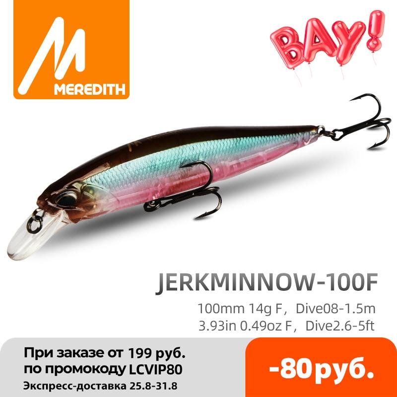 MRERDITH JERK MINNOW 100F 14g Hot Model Fishing Lure Hard Bait 24Color wobbler Minnow Quality Professional Depth0.8 1.5m|Fishing Lures| - AliExpress