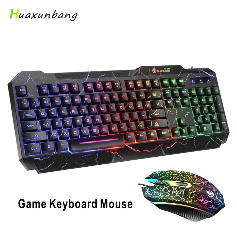 Mouse And Keyboard Set Luminous Anti-Splash USB Wired Mult Function Gaming Keyboard Mouse For Gaming TV Office PC E-Sport CF LOL image