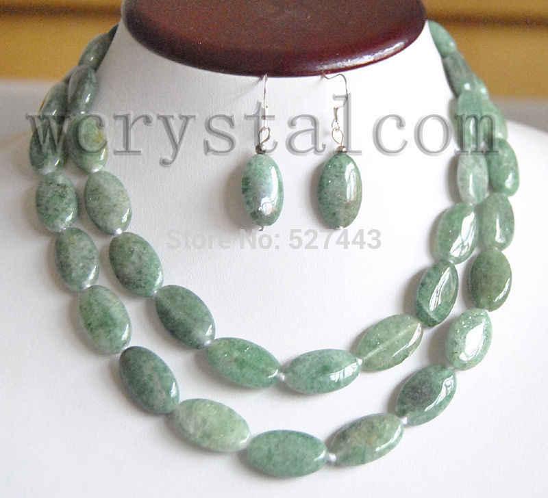"""Gorący bubel nowy-hurtownia JWEW6529 długi zielony owalny awenturyn kamień jasper naszyjnik z kamienia 32 """"kolczyki zestaw (A0511)"""
