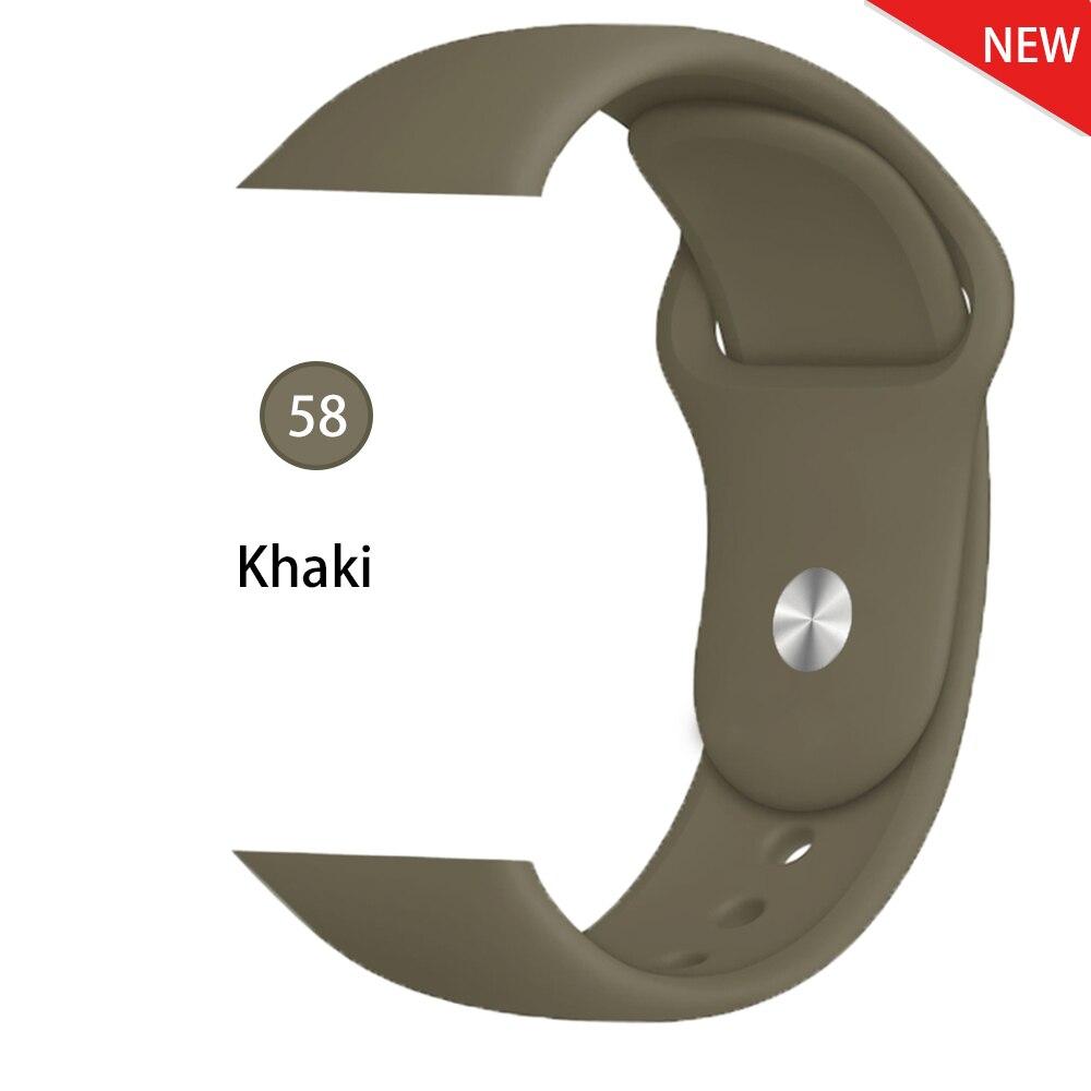 Ремешок для Apple Watch 38 мм 42 мм iWatch 4 ремешка 44 мм 40 мм спортивный силиконовый ремень браслет Apple watch 5 4 3 2 Аксессуары для ремешка - Цвет ремешка: Khaki