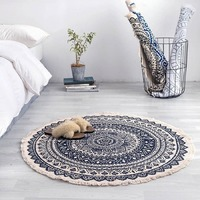 Morocco Round Carpet Bedroom Boho Style Tassel Cotton Rug Hand Woven National Classic Tapestry Sofa Cushion Floor Mats AEZLZ646