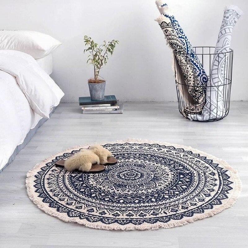 Morocco Round Carpet Bedroom Boho Style Tassel Cotton Rug Hand Woven National Classic Tapestry Sofa Cushion Floor Mats AEZLZ646