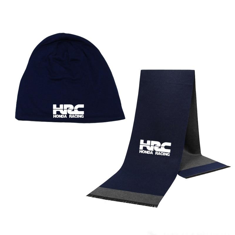 Winter Beanie Hat HRC Race Motorcycle  Men Hat Scarf Solid Color Warm Cotton Scarf Hat Set Male Sports Hat Scarf Set 2Pcs