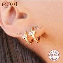 ROXI Ins Platz Stein Runde Hoop Ohrringe für Frauen Mädchen Ohrringe Knorpel 925 Sterling Silber Pendientes Hochzeit Schmuck