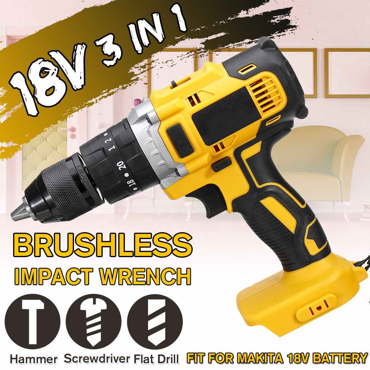 3-In-1 18V Motor Brushless Cordless Impact Drill 13 Mm Rechargable Electric Obeng Bor untuk Makita Baterai 18V