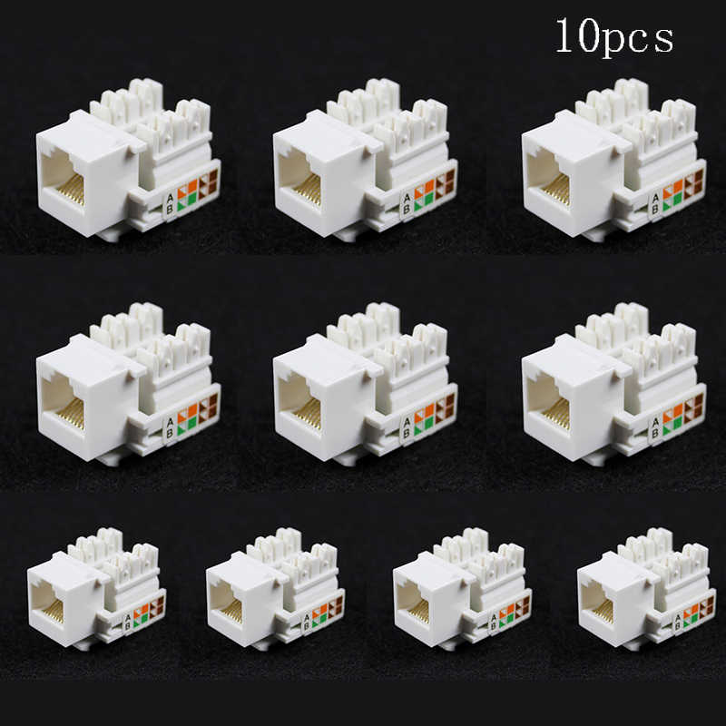 10Pcs Cat5E 8P8C RJ45 Lan Netwerk Ethernet Punch Down Keystone Socket Jack Voor 568A 568B(258A) bedrading Schemes Punch Down Eia/Tia