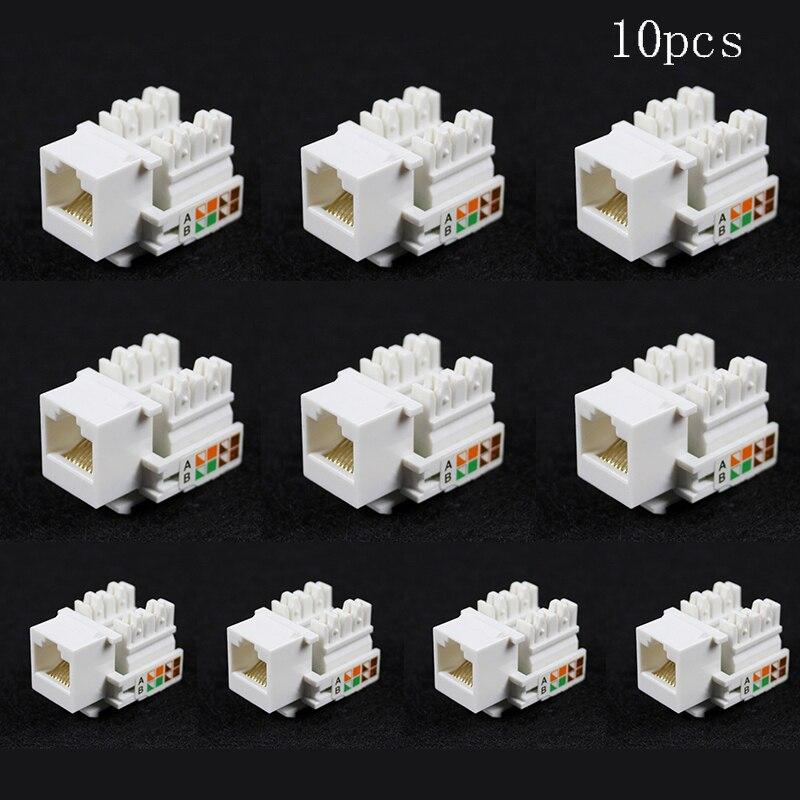 10pcs Cat5E 8P8C RJ45 LAN Network Ethernet Punch Down Keystone Socket Jack For 568A 568B(258A) Wiring Schemes Punch Down EIA/TIA