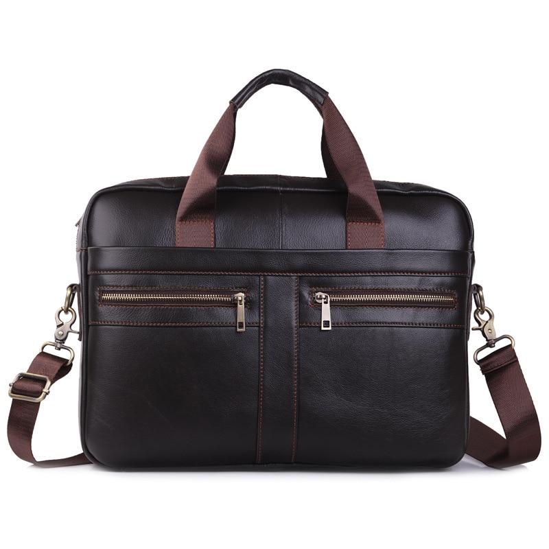 Multifunction Genuine Leather Man Briefcase Formal Cowhide 15.6 Inch Laptop Business Bag Tote Leather Handbag Travel Bag