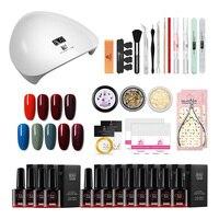 Gel Nail Polish Kit Manicure Tools Nail Lamp Nail Polish Base Top Coat Set