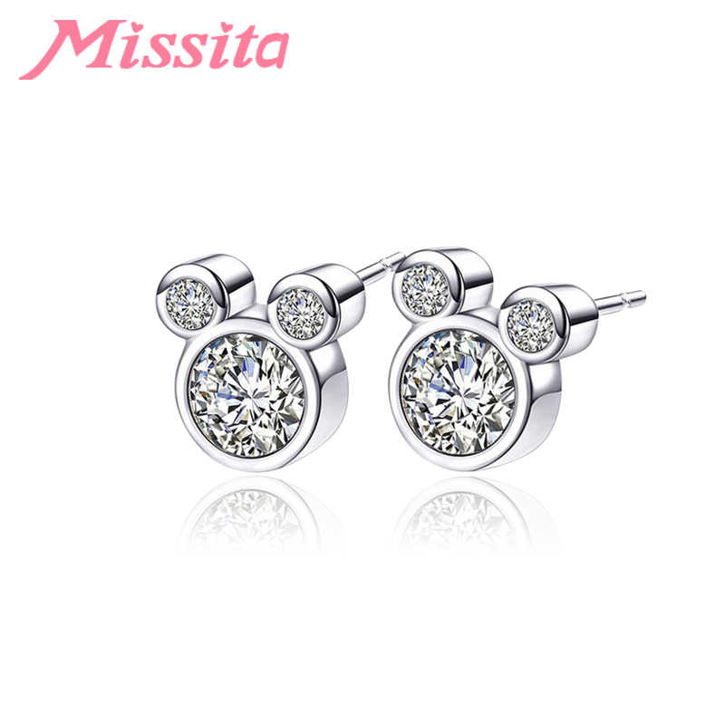 MISSITA 2019 New Cute Mickey Earrings with CZ For Women Silver Jewelry Brand Girlfriend Party Gift Hot Sale