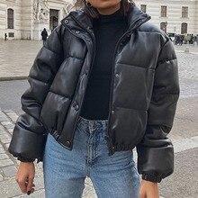 Зимняя женская куртка, толстые теплые короткие парки, женские модные черные пальто из искусственной кожи, женские элегантные Куртки из иску...