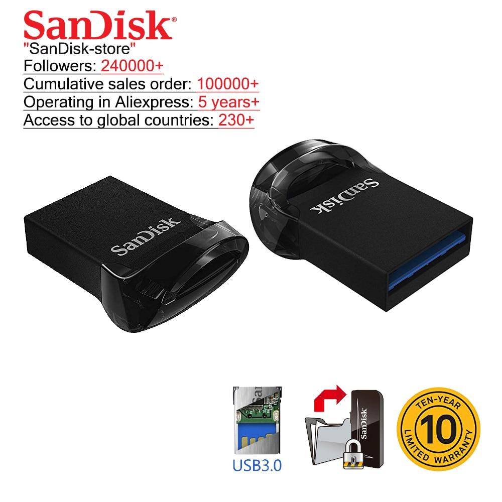 SanDisk Original USB 3.1 Flash Drive Ultra Super Mini Pen Drive 16GB 32GB 64GB 128GB Memory Stick Up To 130MB/s  Pendrive