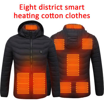 USB Electric heating jacket 8 zone heating plate outdoor sports coat winter coat with cap and USB electric heating vest camping