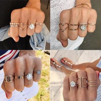 Tocona-Conjunto de anillos de oro con diamantes de imitación para mujer y...