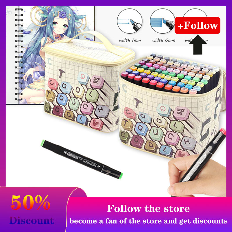 80 Colors Dual Head Alcoholic Based Marker Pen Set Sketching Felt-Tip Markers For Bookmark Drawing Manga School Art Supplies