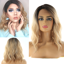 Blonde Ombre Color Lace Front Synthetic Wigs Shoulder Length Deep Invisible Side