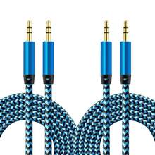 2 Pack 1m Nylon Jack Aux Cable 3.5mm to 3.5mm Audio Cable Male to Male Car Aux Cable for iPhone Samsung Xiaomi(China)