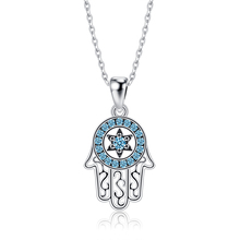 ZEMIOR Genuine 925 Sterling Silver Trendy Fatima's Lucky Hand Pendant Necklaces Shiny Blue CZ Necklace For Women Silver Jewelry
