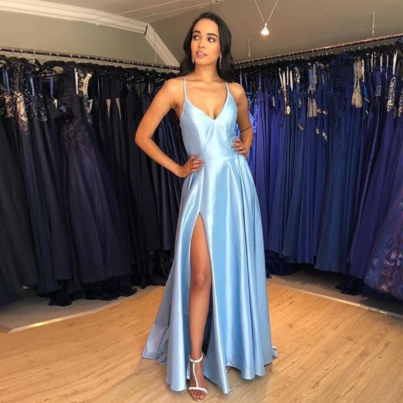 AE811 Simple Long Evening Dress Light Sky Blue Satin Vestido De Noite Crisscross Back Women Occasion Formal Evening Party Gowns 1